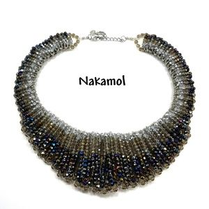 Nakamol Crystal Beaded Runway Statement Necklace